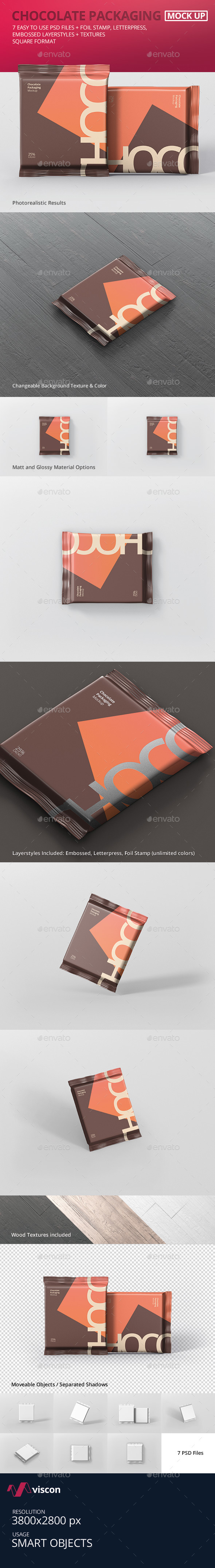 Foil Chocolate Packaging Mockup - Square Size - Food and Drink Packaging