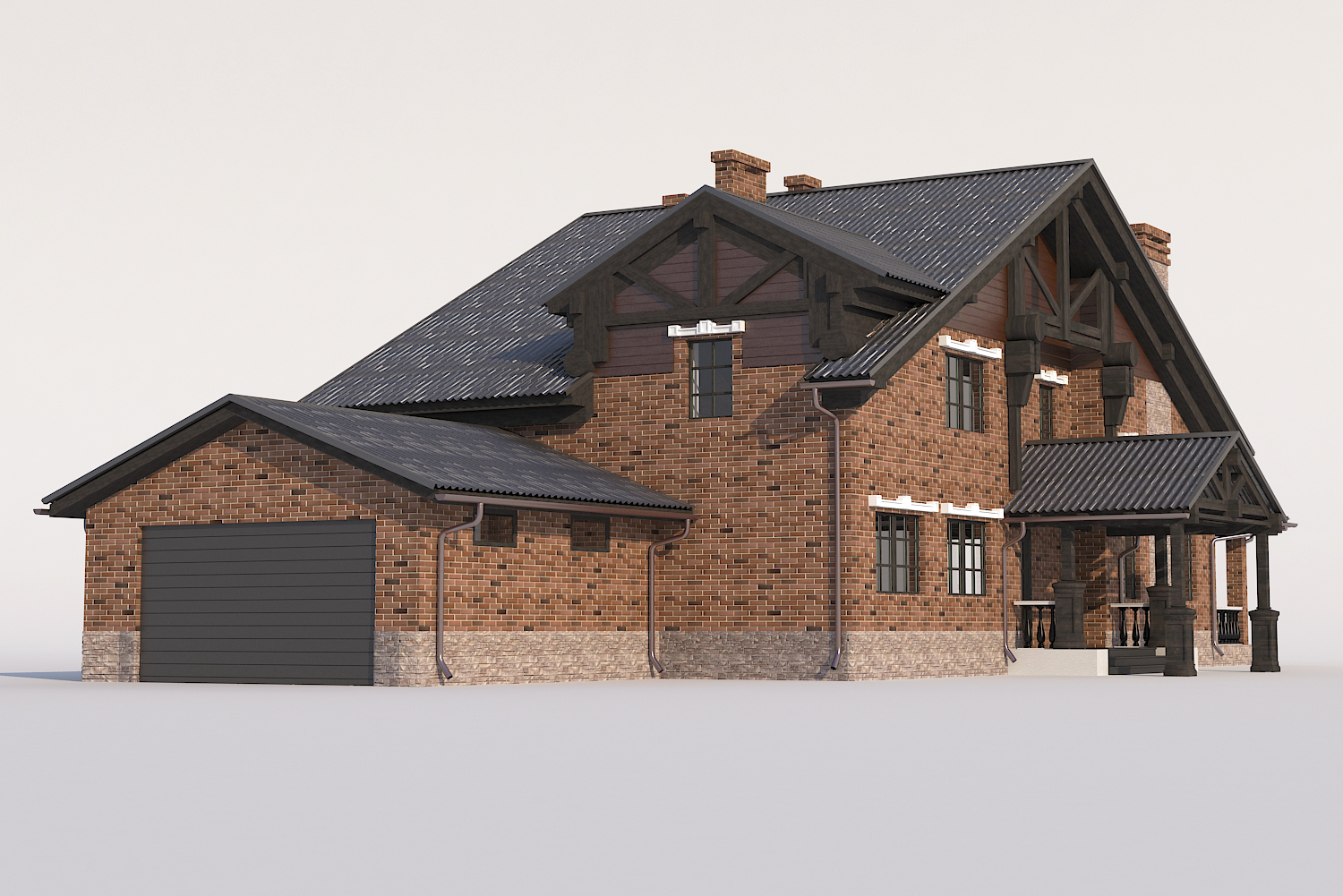 A Chalet house with a garage