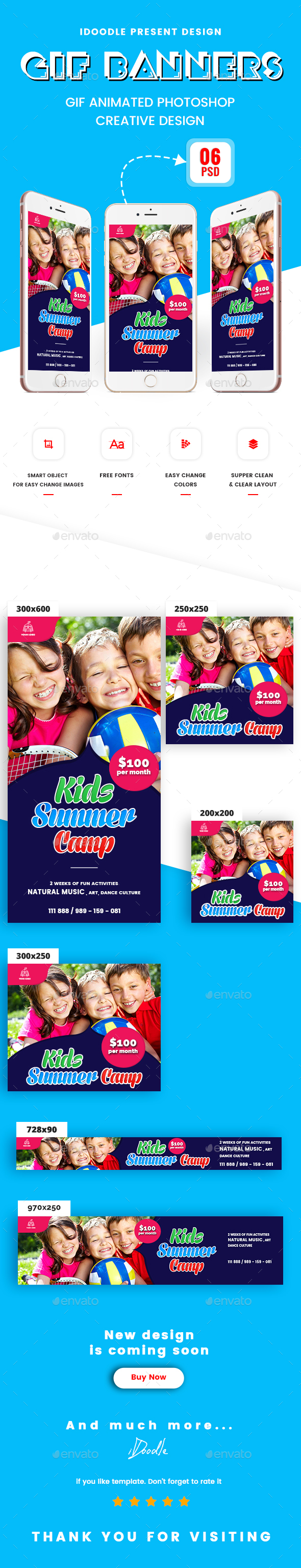 Animated GIF Kids Summer Camp Banners Ads - Banners & Ads Web Elements
