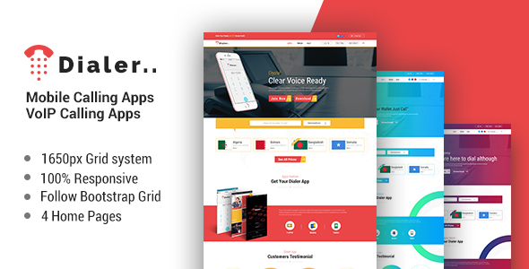 ThemeForest Dialer VoIP Mobile Calling Apps HTML Templates 21066668