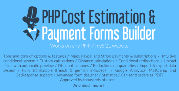 PHP Cost Estimation & Payment Forms Builder - CodeCanyon Item for Sale
