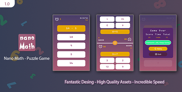 Nano Math: Android Puzzle Game (With AdMob) Free Download | Nulled
