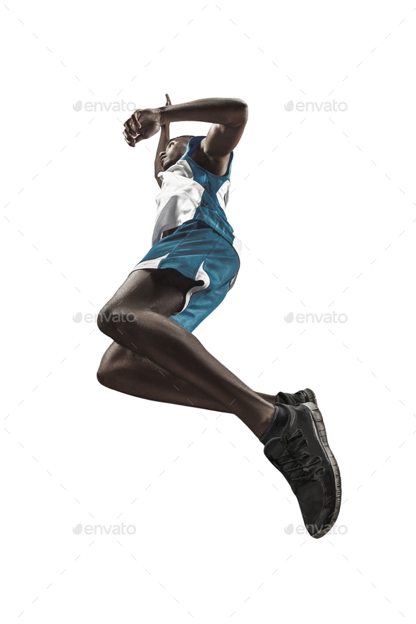 Full length portrait of a basketball player with ball - Stock Photo - Images