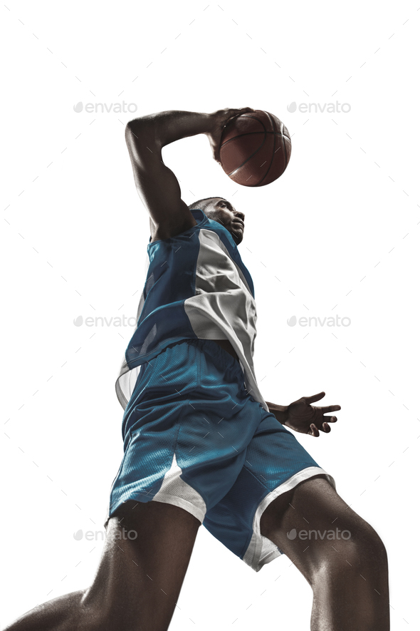 The portrait of a basketball player with ball - Stock Photo - Images
