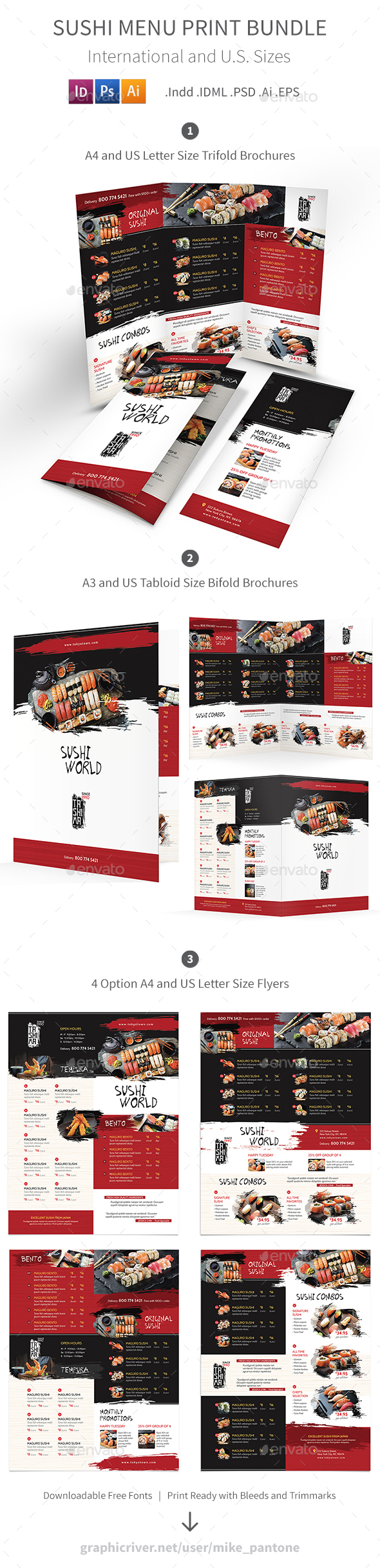 GraphicRiver Sushi Restaurant Print Bundle 3 21181876