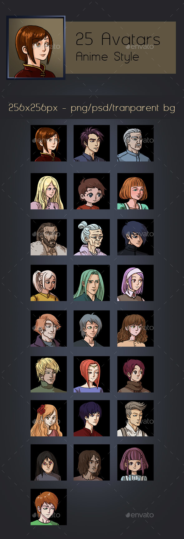 25 Avatars - Anime Style - Miscellaneous Game Assets