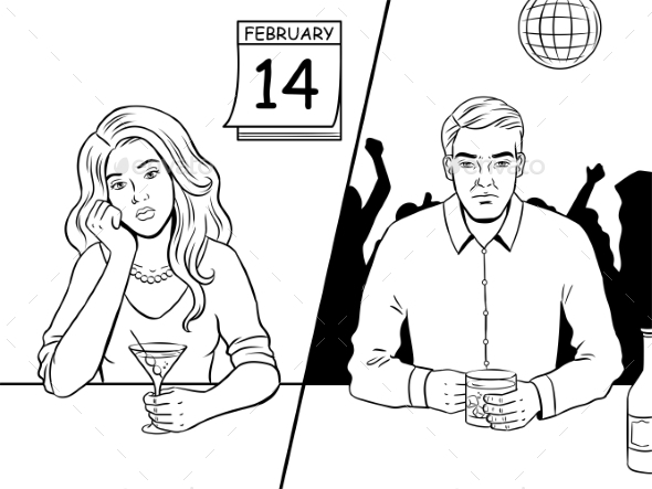 Lonely People on Valentine Day Coloring Book - Miscellaneous Vectors