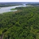 Flying Above Clear Water of Dnieper River with Green Trees - VideoHive Item for Sale