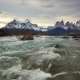 Mountain River at Sunset with a View of the Mountains Torres Del Paine, Chile - VideoHive Item for Sale