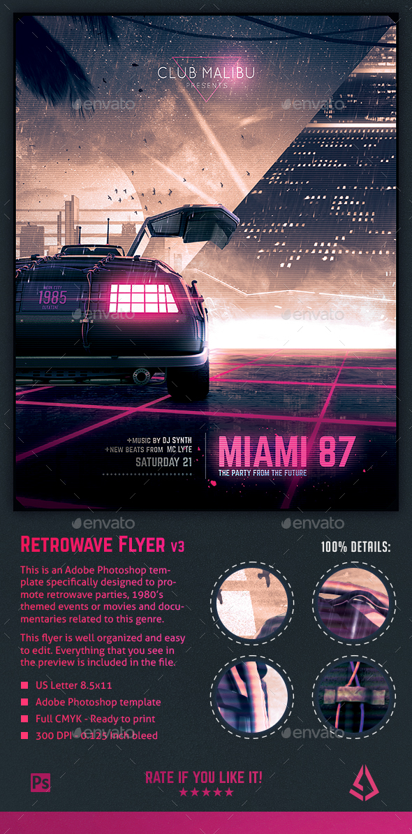 GraphicRiver Synthwave Flyer v3 Neon Miami Retrowave Poster Template 21182427