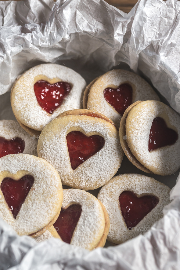 Heart shaped cookies with strawberry filling - Stock Photo - Images