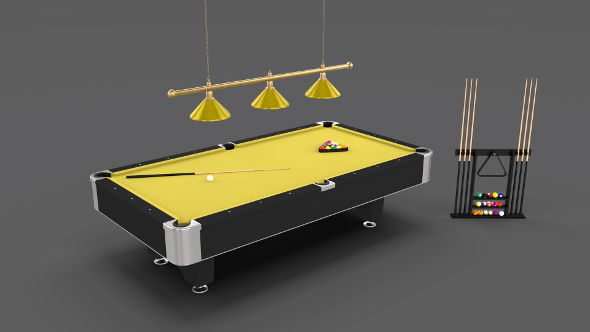 8 Ball Pool Table Setting Yellow - 3DOcean Item for Sale