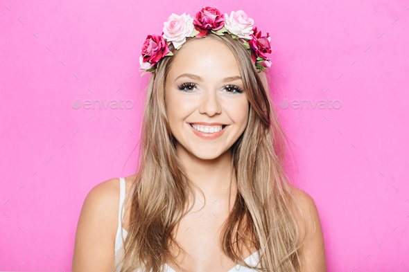 Funny pretty girl smiling with teeth - Stock Photo - Images