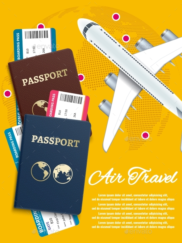 GraphicRiver Air Travel Banner with World Globe Airline Tickets 21182775