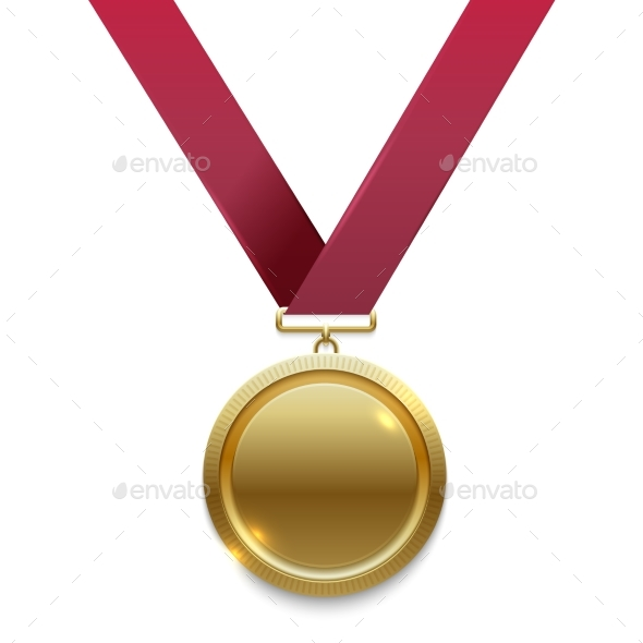 Champion Gold Medal on Red Ribbon - Miscellaneous Vectors