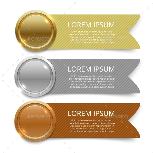 GraphicRiver Gold Silver and Bronze Medals Banners Design 21182782
