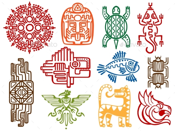 GraphicRiver Colorful Ancient Mexican Vector Mythology Symbols 21182783