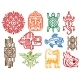 Colorful Ancient Mexican Vector Mythology Symbols
