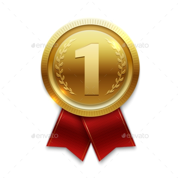 Winner Gold Medal with Red Ribbons Isolated - Miscellaneous Vectors