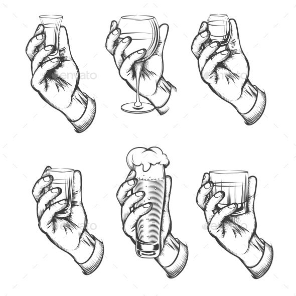 GraphicRiver Hand Holding Drink Vintage Sketch Icons 21182998
