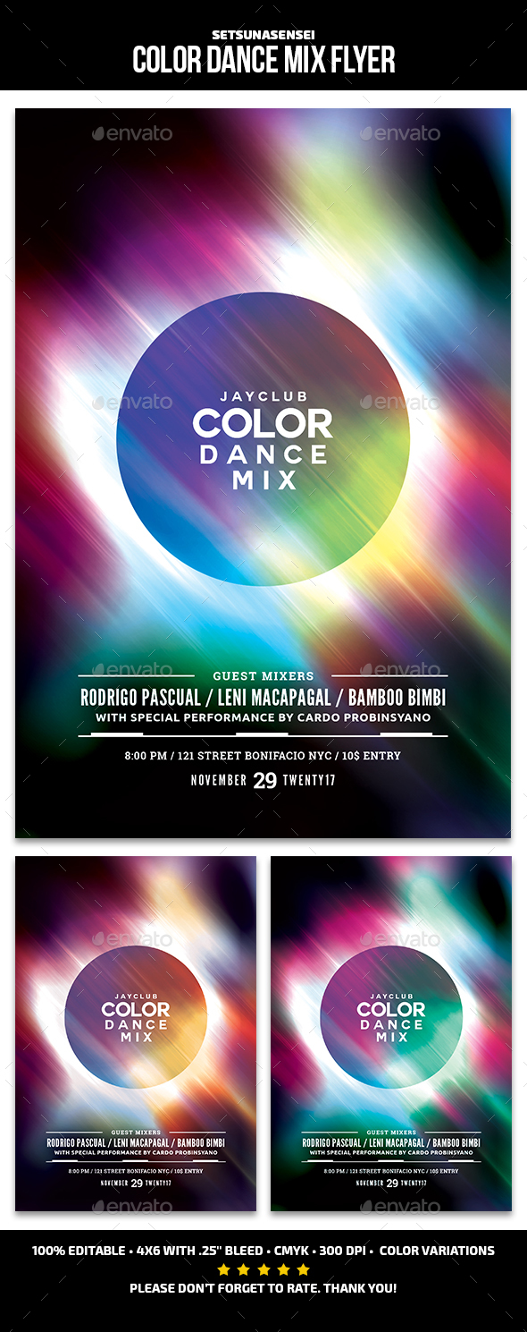 Color Dance Mix Flyer - Events Flyers