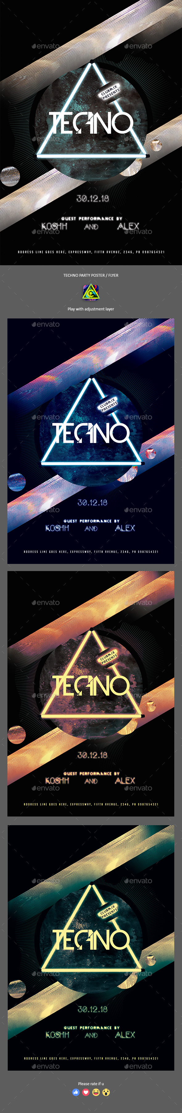 GraphicRiver Techno Party Poster Flyer 21183119