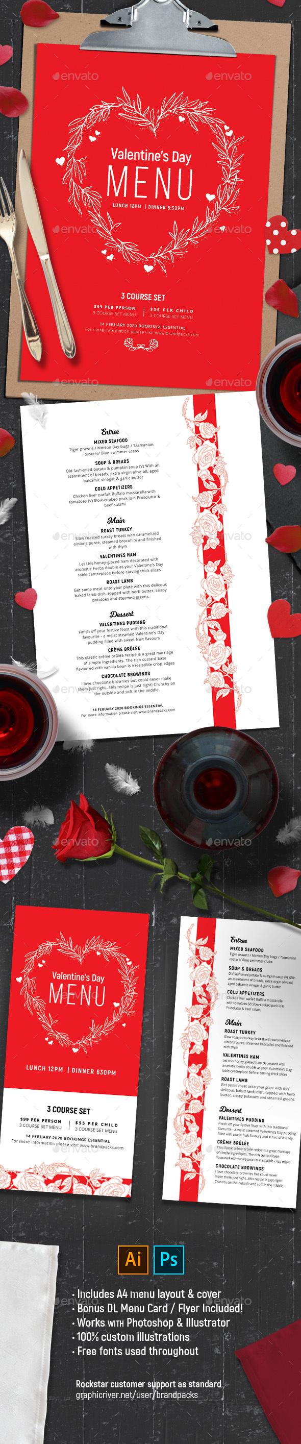 Valentines Menu Vol.2 - Food Menus Print Templates