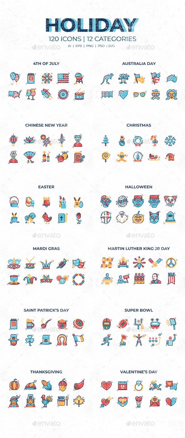 GraphicRiver Holiday Icons 21183589