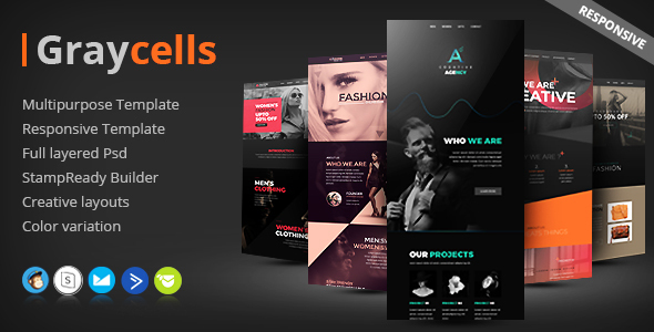 ThemeForest Graycells Email v4 5 Multipurpose Responsive Template 21184015