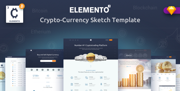 ThemeForest Cryto-Elemento bitcoin Template for Sketch 21184041