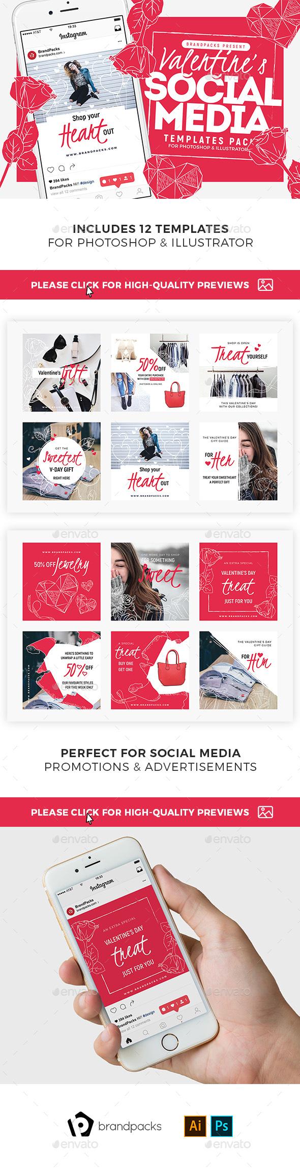 Valentines Social Media Templates Vol.4 - Social Media Web Elements