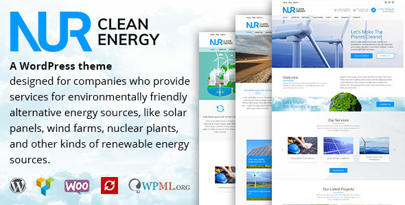 Nur - Alternative & Renewable Energy WordPress Theme - Technology WordPress