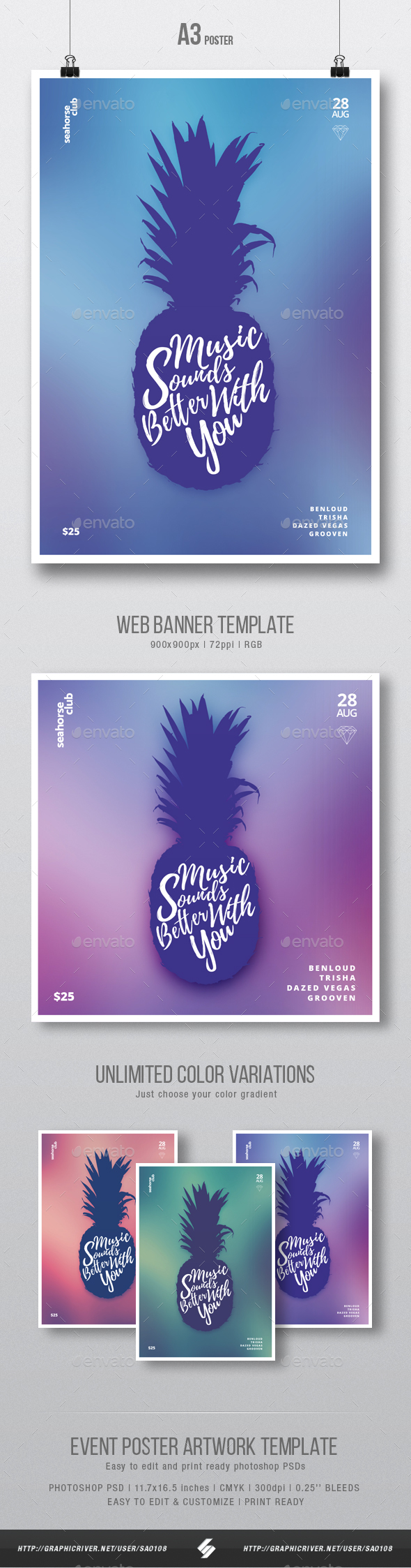 Summer House Music - Minimal Party Flyer / Poster Template A3 - Clubs & Parties Events