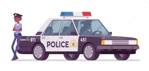 GraphicRiver Young Policewoman Standing Near Car 21184430