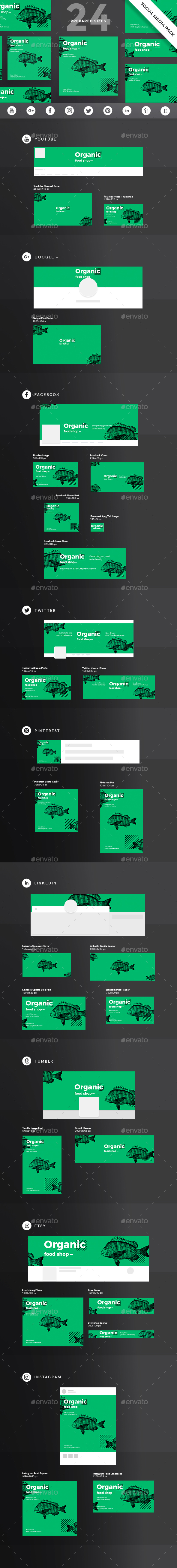 GraphicRiver Organic Food Social Media Pack 21184475