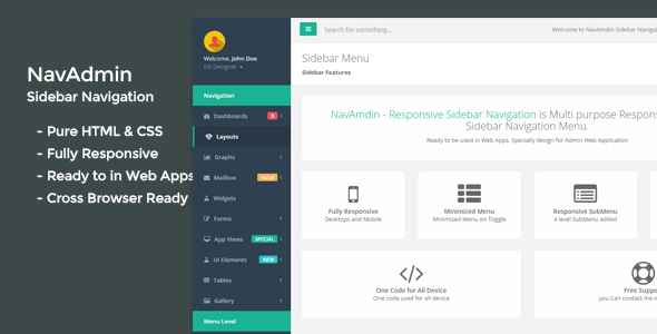NavAmdin - Responsive Sidebar Navigation - CodeCanyon Item for Sale