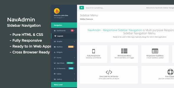 NavAmdin - Responsive Sidebar Navigation