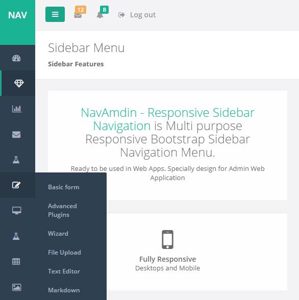 Navamdin Responsive Sidebar Navigation