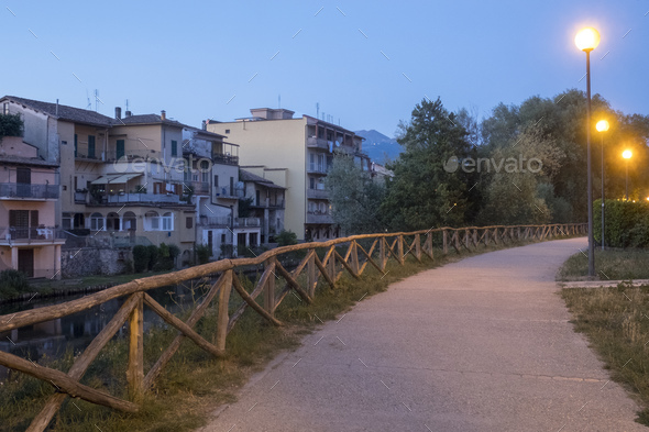 Rieti (Italy), along Velino river - Stock Photo - Images