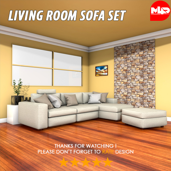 Living Room Sofa Set - 3DOcean Item for Sale