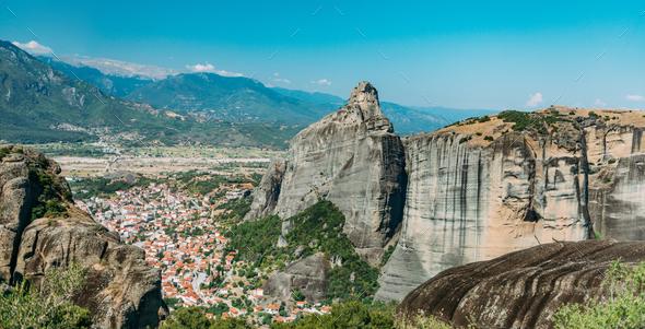 Meteora rocks with Kalambaka valley, Greece - Stock Photo - Images