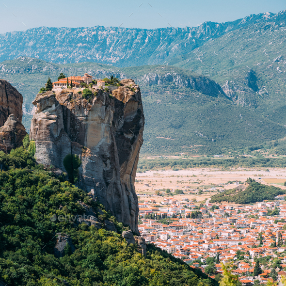 Meteora monasteries, Greece. The Monastery of the Holy Trinity - Stock Photo - Images