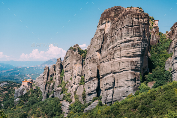 Meteora monasteries built on limestone rocks, Greece - Stock Photo - Images