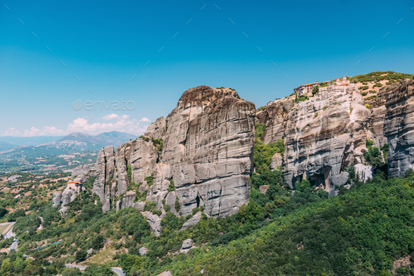 Meteora monasteries, Greece. Varlaam monastery - Stock Photo - Images