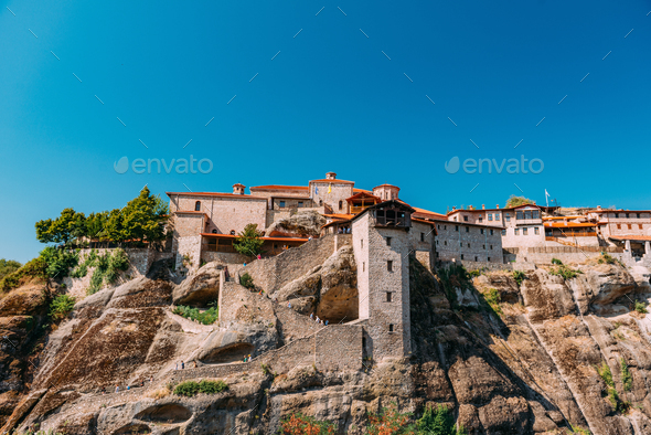 Meteora monasteries, Greece. The Monastery of Great Meteoron - Stock Photo - Images