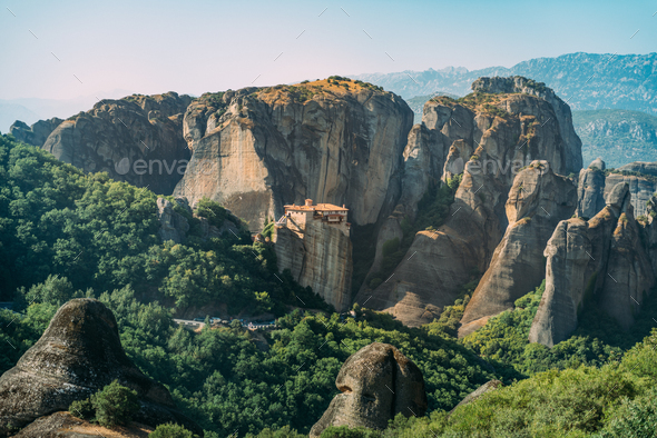 Meteora monasteries, Greece. The Monastery of Rousanou or St. Ba - Stock Photo - Images