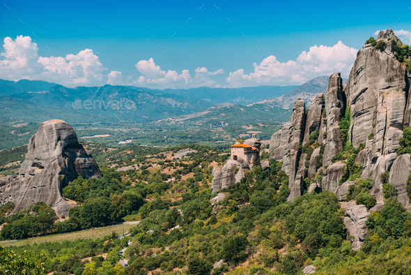Meteora monasteries, Greece. Monastery of St. Nicholas Anapausas - Stock Photo - Images