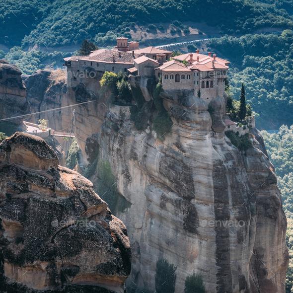 Meteora monasteries, Greece. Varlaam monastery - Stock Photo - Images