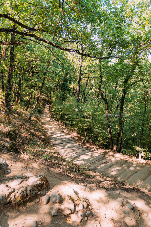 Hiking trail at Meteora, Greece - Stock Photo - Images