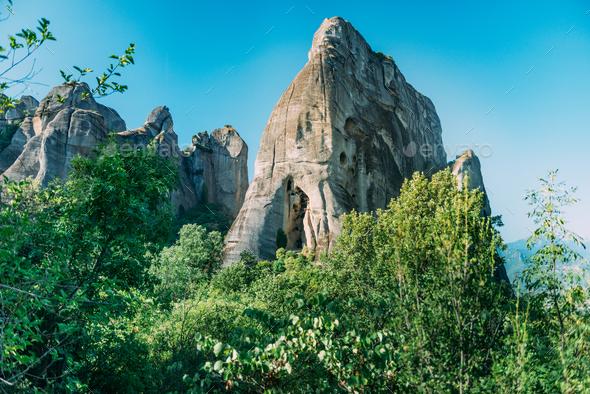 Meteora, monk prison cave, Greece - Stock Photo - Images